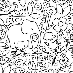 line art safari jungle doodle wall black large scale