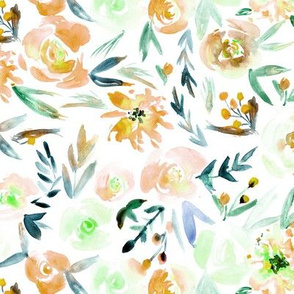 Apricot Spring in Versailles - watercolor flowers for modern home decor, bedding, nursery