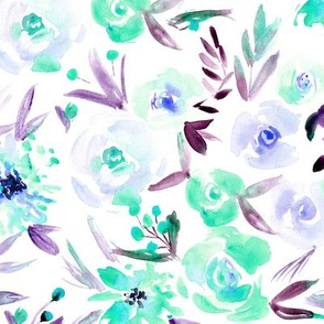 Spring in Versailles ★ aqua watercolor flowers for modern home decor, bedding, nursery