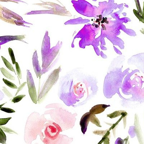 Amethyst spring in Versailles watercolor flowers ★ painted large scale florals for modern home decor, bedding, nursery