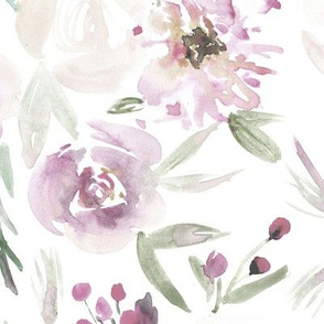 Blush Spring in Versailles watercolor flowers ★ painted tender florals for modern home decor, bedding, nursery