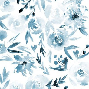Spring in Versailles in blue ★ watercolor tonal flowers for modern home decor, bedding, nursery