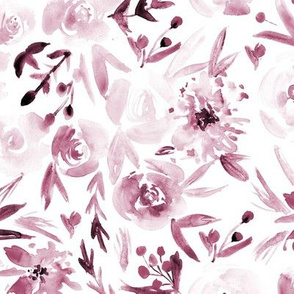 Burgundy Spring in Versailles - watercolor flowers for modern home decor, bedding, nursery
