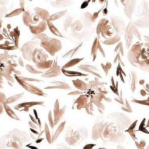 Earthy Spring in Versailles ★ watercolor neutral flowers for modern home decor, bedding, nursery