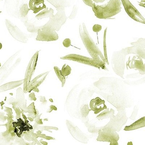 Spring in Versailles ★ large scale olive green watercolor flowers for modern scandi khaki home decor, bedding, nursery