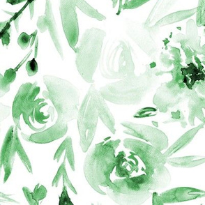 Mint Spring in Versailles - large scale watercolor flowers p272