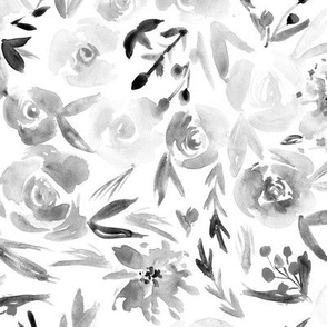 Noir Spring in Versailles ★ watercolor grey flowers for neutral home decor, bedding, nursery