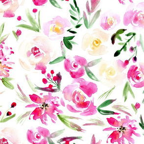 Spring in Versailles ★ large scale watercolor flowers for modern home decor, bedding, nursery ★ blush florals