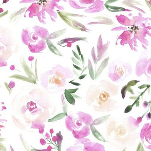 Blush spring in Versailles ★ watercolor flowers for home decor, bedding, nursery