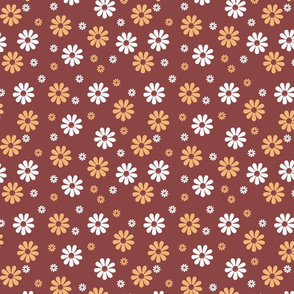 60s flowers over brown blackground