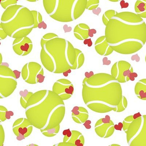 tennis balls sports pattern with pink and red hearts