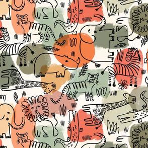 line art safari animals on desert palette