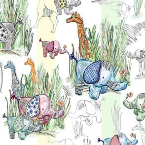 Line Art Safari Pastel Stripes Large