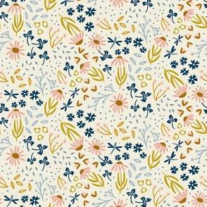 Golden Garden Floral Ditsy Navy Pink Rust