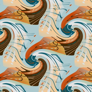 east fork abstract waves, large scale, mint green blue teal red orange peach coral light gray grey chocolate brown