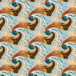 east fork abstract waves, small scale, mint green blue teal red orange peach coral light gray grey dark chocolate brown