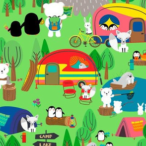 Large - Arctic Animals Camping On Vacation