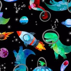 Medium - Watercolor Dinosaur Astronauts In Space