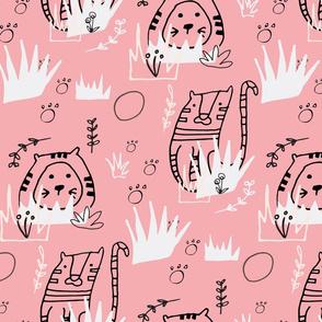Safari Line Art - Roar Tiger Pink