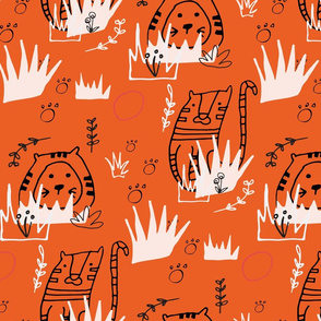Safari Line Art - Roar Tiger Orange