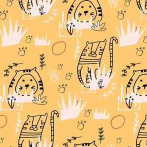 Safari Line Art - Roar Tiger Yellow