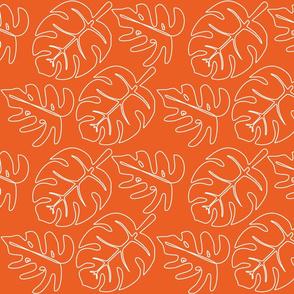 Safari Line Art - Monstera Leaves Orange