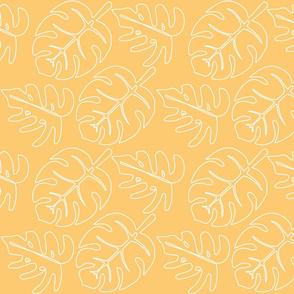 Safari Line Art - Monstera Leaves Yellow