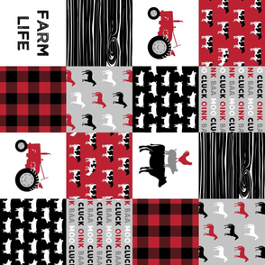 farm life wholecloth (90) - black and red woodgrain V2 C20BS