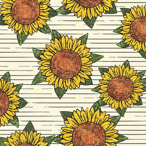 (large scale) sunflowers - summer flowers - linocut - OG with stripes  - LAD20