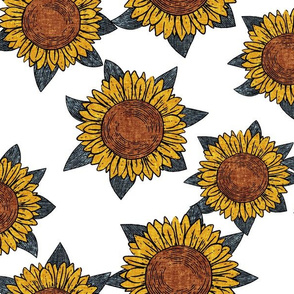 (large scale) sunflowers - summer flowers - linocut - blue/white  - LAD20