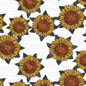 sunflowers - summer flowers - linocut -  blue on grey stripes  - LAD20