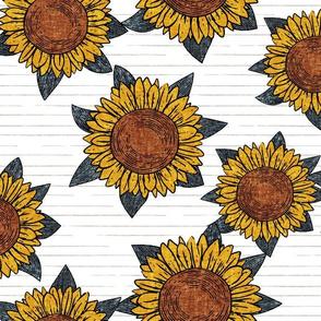 (large scale) sunflowers - summer flowers - linocut -  blue on grey stripes  - LAD20