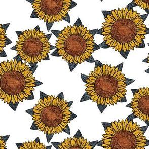 sunflowers - summer flowers - linocut - blue/white  - LAD20