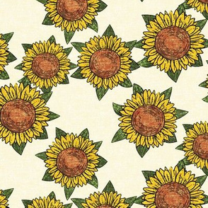 sunflowers - summer flowers - linocut - OG  - LAD20
