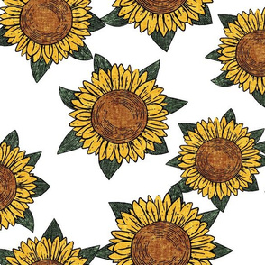 (large scale) sunflowers - summer flowers - linocut - white - LAD20
