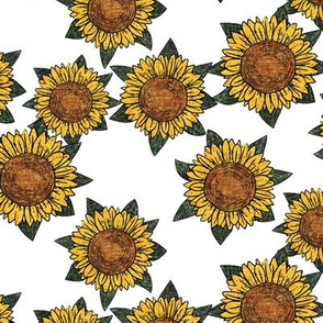 sunflowers - summer flowers - linocut - white - LAD20