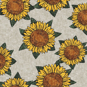 (large scale) sunflowers - summer flowers - linocut - beige  - LAD20