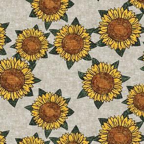 sunflowers - summer flowers - linocut - beige  - LAD20