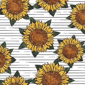 (large scale) sunflowers - summer flowers - linocut - white with stripes- LAD20