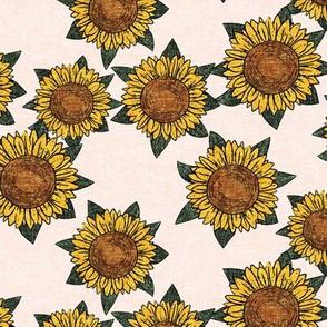 sunflowers - summer flowers - linocut - pink - LAD20