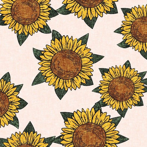 (large scale) sunflowers - summer flowers - linocut - pink - LAD20