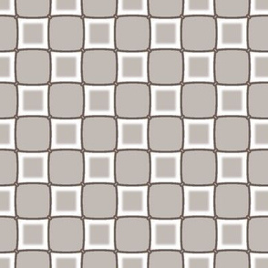 White Check on Taupe