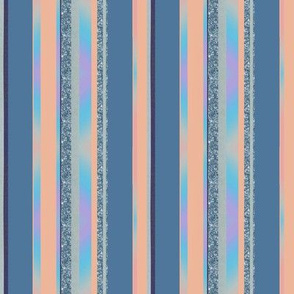 Vertically Striped Blue Peach Pink Seamless Pattern