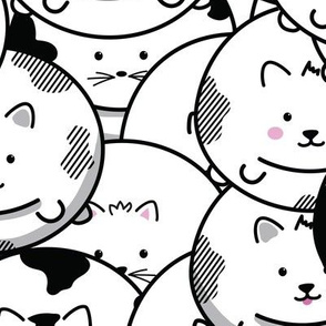 CHUBBY CAT BALLONS IN BLACK AND WHITE