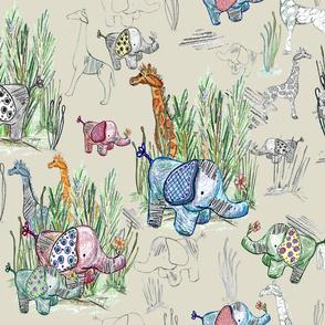 Line Art Safari on Buff Large