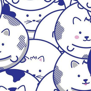 CHUBBY CAT BALLONS IN BLUE
