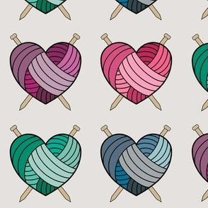 Knitting Hearts - multi colored