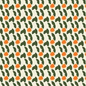 Orange rose leaves