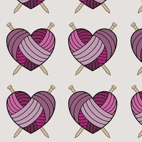 Knitting hearts - purple