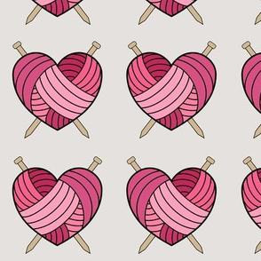 Knitting Hearts - pink
